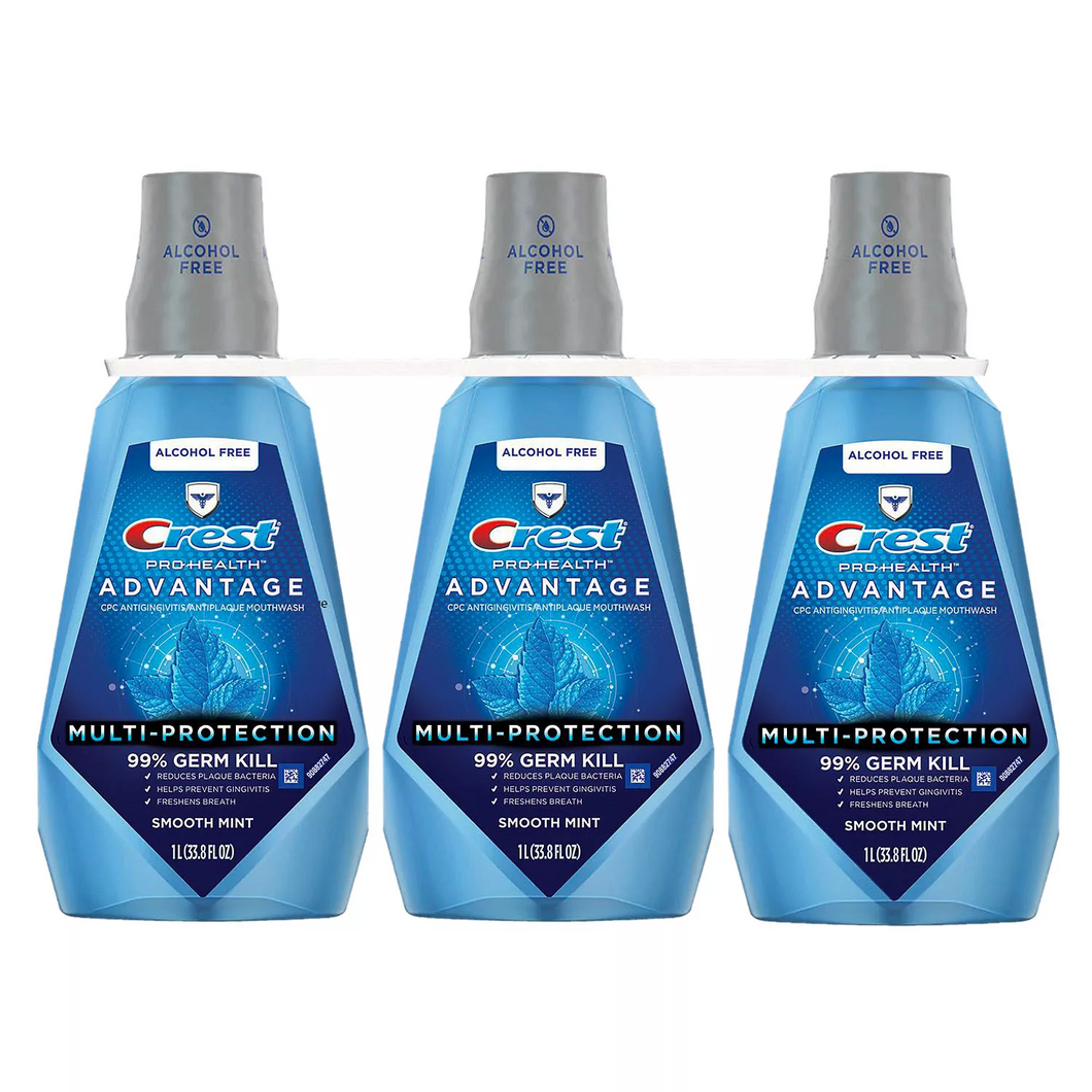 Crest Pro-Health Advantage Mouthwash, Alcohol Free, Multi-Protection, Smooth Mint (33.8 fl. oz., 3 pk.)