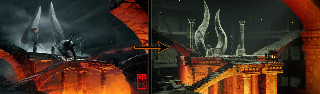 Reference image and the final render.