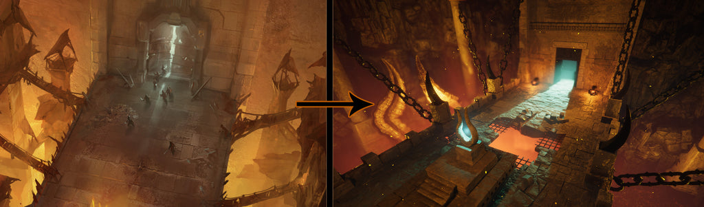 The reference and the final result of Infernal Bridge. I differ quite a much.