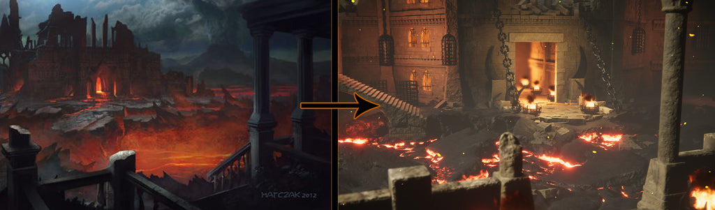Reference and the result image of the Infernal Fortress