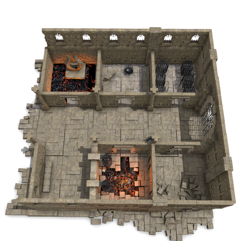 Those who oppose the infernal lords will quickly get familiar with the insides of this prison. The holding cells feature sturdy iron cages, hot lava, and an unholy artifact that radiates an aura of crushing despair.
