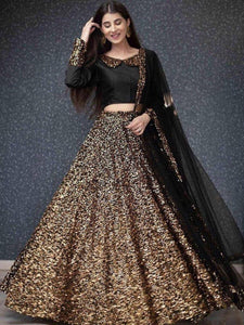 Golden Viscose Velvet Semi-stitched Lehenga Choli LC 288