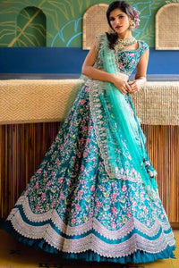 Aqua Blue Designer Partywear Embroidered Work Malay satin Material Lehenga Choli LC 299