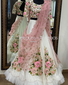 White Lehenga choli malay satin silk fabric with embroidery work LC 318