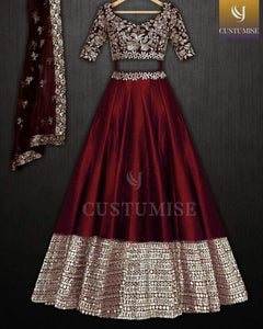 Maroon Colored Party Wear Lehengha Choli With Embrodariy Work -LC278