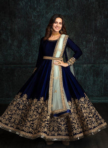 Blue Colored Designer Partywear Embroidered Work Velvet Material Lehenga Choli - LC179