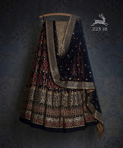 Black Colored Designer Partywear Embroidered Work Silk Material Lehenga Choli--lc208