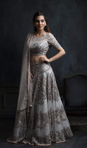Grey Colored Partywear Designer Embroidered Silk Lehenga Choli-LC66