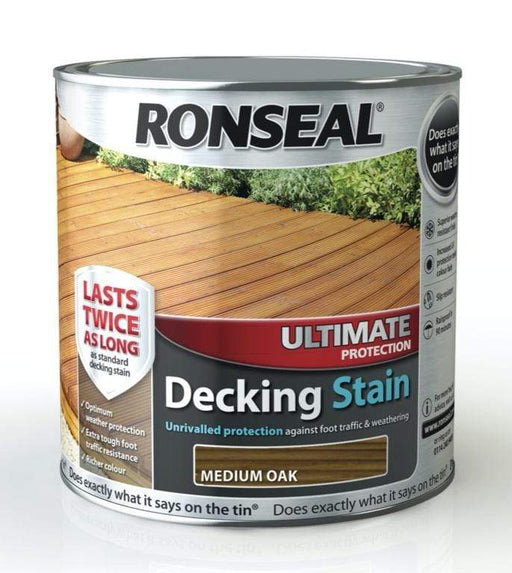 Ronseal Decking Stain Ronseal Ultimate Protection Decking Stain Medium Oak 2.5L