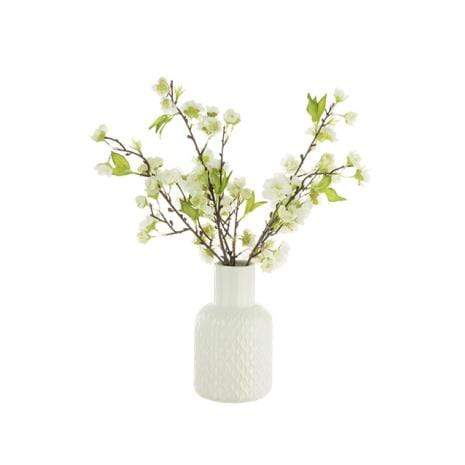 Floral Silk Vase Arrangment White Blossom in a Geometric Vase