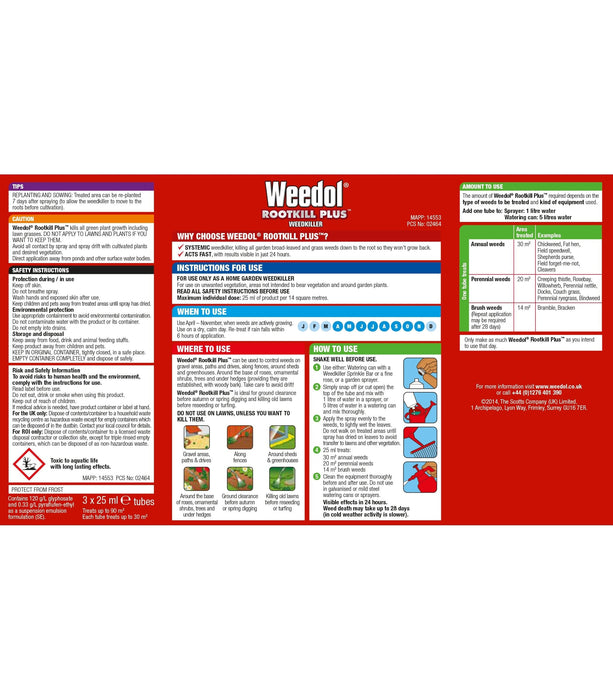 Weedol Weed Killer Weedol Rootkill Plus Liquid Concentrate Tubes 3 tube carton