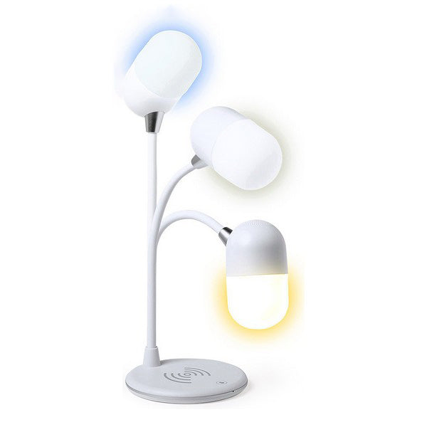 LED Lamp with Bluetooth Speaker and Wireless Charger White 146268