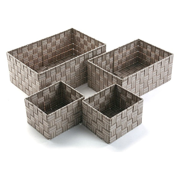 Set of Stackable Organising Boxes Textile (4 Pieces) (25 x 15 x 38 cm)