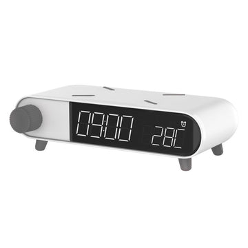 Alarm Clock with Wireless Charger KSIX Retro White 10 W