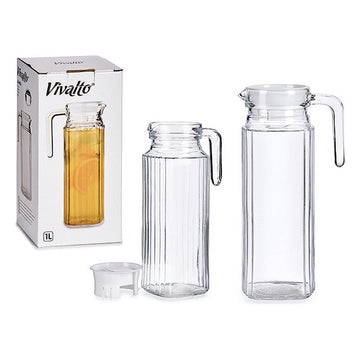 Transparent Glass Jug Squared (1000 ml)
