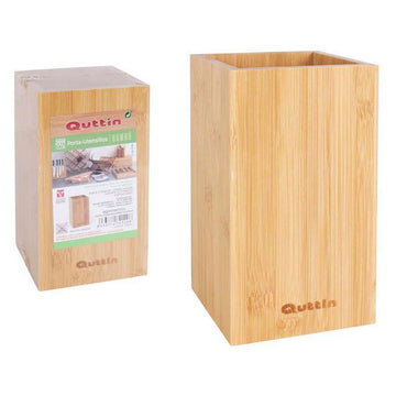 Pot for Kitchen Utensils Quttin Bamboo Natural (10,5 x 10,5 x 18 cm)