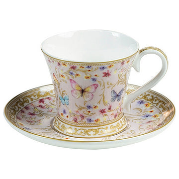 Cup with Plate Butterflies (4 Pcs)
