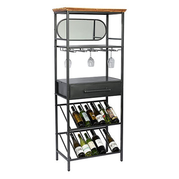 Bottle rack Industrial Spruce wood and wrought iron (68 x 37 x 165 cm)
