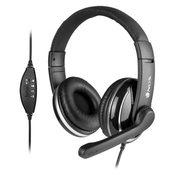 Headphones with Microphone NGS VOX800USB Black