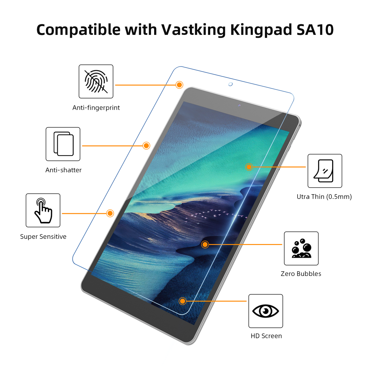 Kingpad SA8 Tablet Tempered Glass Screen Protector