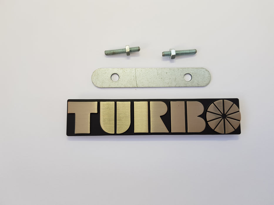 99 turbo Grill badge with 2 threaded grommets on the back, with bar and screwfittings