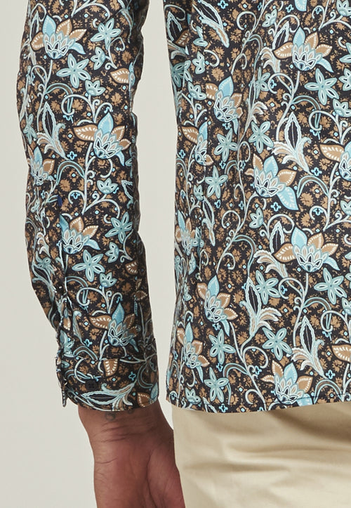 Stretch shirt met bloemenprint