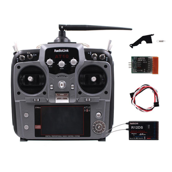 Radiolink AT10II 12CH RC Transmitter and Receiver R12DS 2.4GHz DSSS&FHSS Spread Radio Remote Controller for RC Drone/Fixed Wing