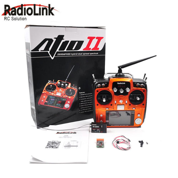 RadioLink AT10 II 2.4Ghz 12CH Transmitter With R12DS Receiver PRM-01 Voltage Return Module Battery for RC Quadcopter Fixed Wing