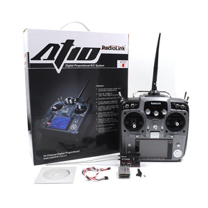 STARTRC Radiolink AT10II 2.4Ghz 10CH RC Transmitter with R12DS Receiver PRM-01 Voltage Module For RC Helicopter Airplane
