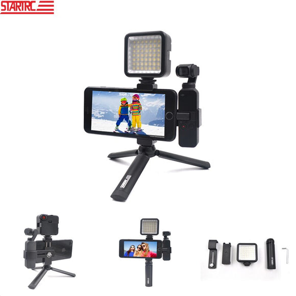 STARTRC OSMO POCKET Handheld Mount Stand Tripod & Metal Phone Clip Holder & LED Lights Accessories Kit For DJI OSMO POCKET