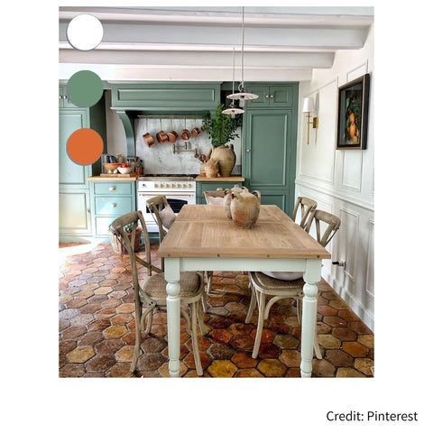 French country kitchen with cool color palette. Review from French Address, French country kitchen and French country home color palette expert.