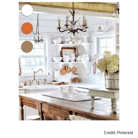 French country kitchen color palette warm. Review from French Address, expert in French country color palette and French country kitchen.
