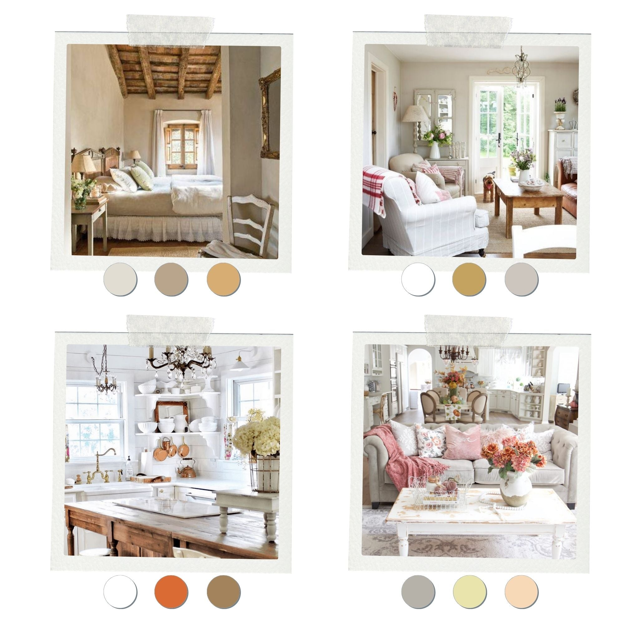 French country home color palette, the foudnation of a French country home decor. French Address tips on French country home.