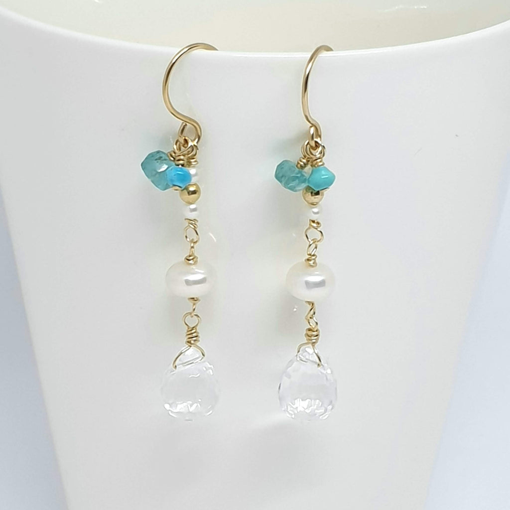turquoise pearl gold earrings