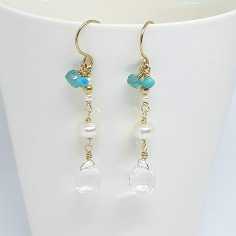 Apatite pearl long gold earrings