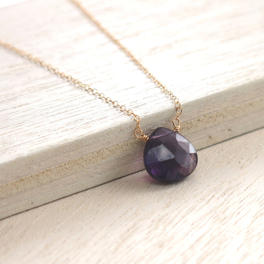 Amethyst Gold Solo Necklace