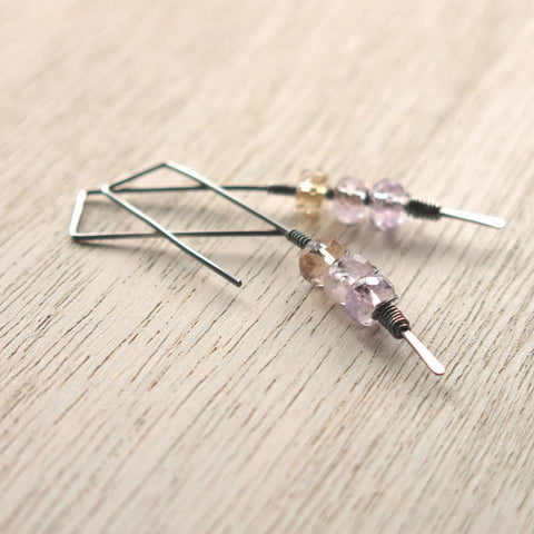 Ametrine Silver Twigs Earrings