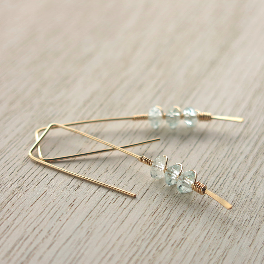 Aquamarine Gold Twigs Earrings