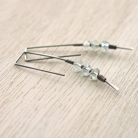 Aquamarine Silver Twigs Earrings