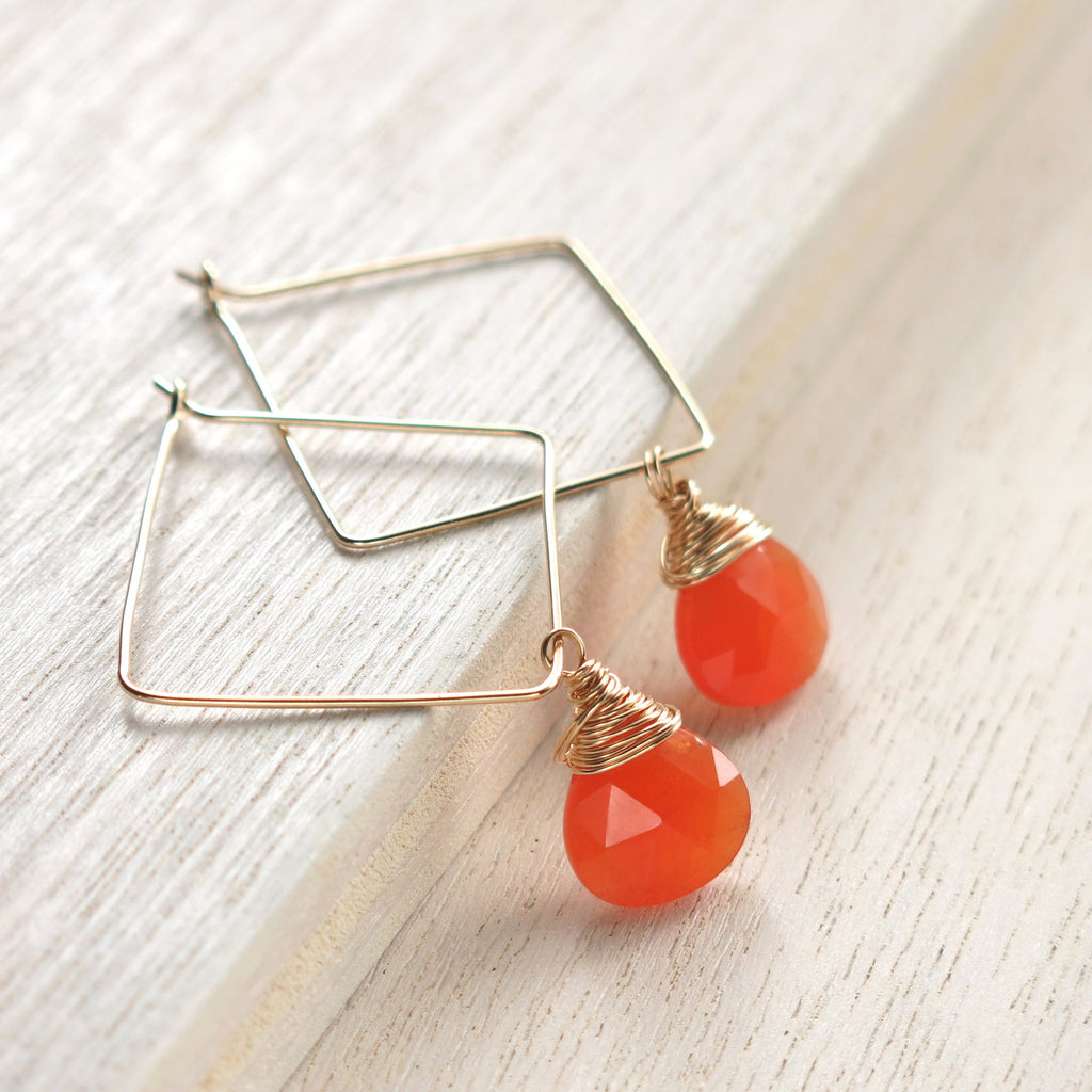 Carnelian Gold Square Hoops