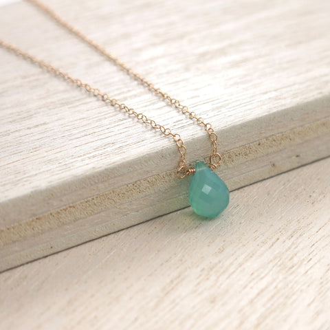Aqua Chalcedony Gold Solo Necklace