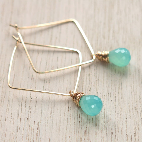 Aqua Chalcedony Gold Square Hoops