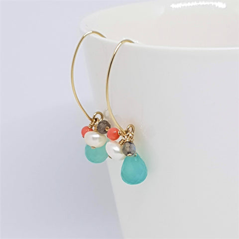 Aqua chalcedony coral cluster gold earrings