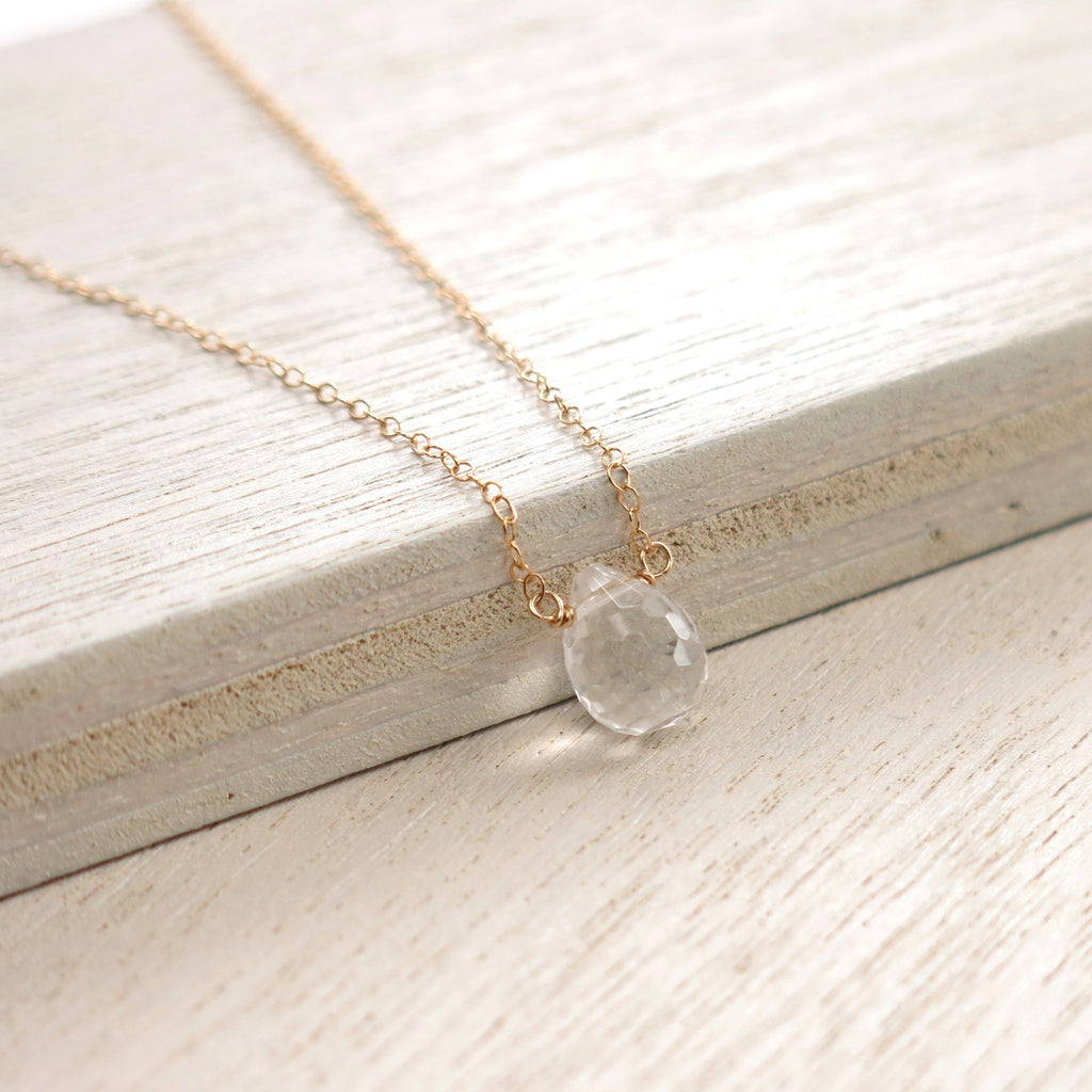 Crystal Quartz Gold Solo Necklace