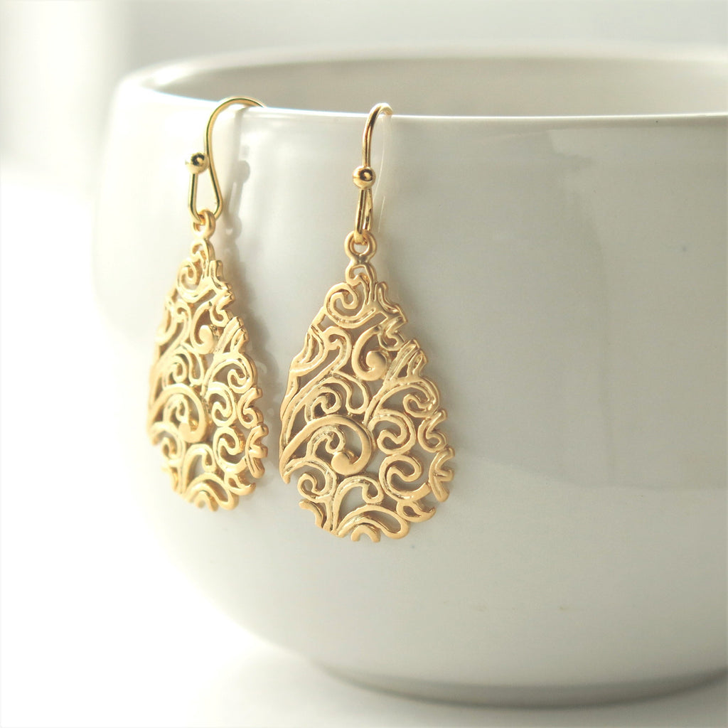 Gold Paisley Teardrop Filigree Earrings