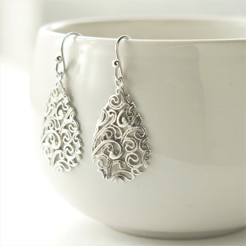 Silver Paisley Teardrop Filigree Earrings