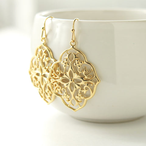 Gold Floral Filigree Earrings
