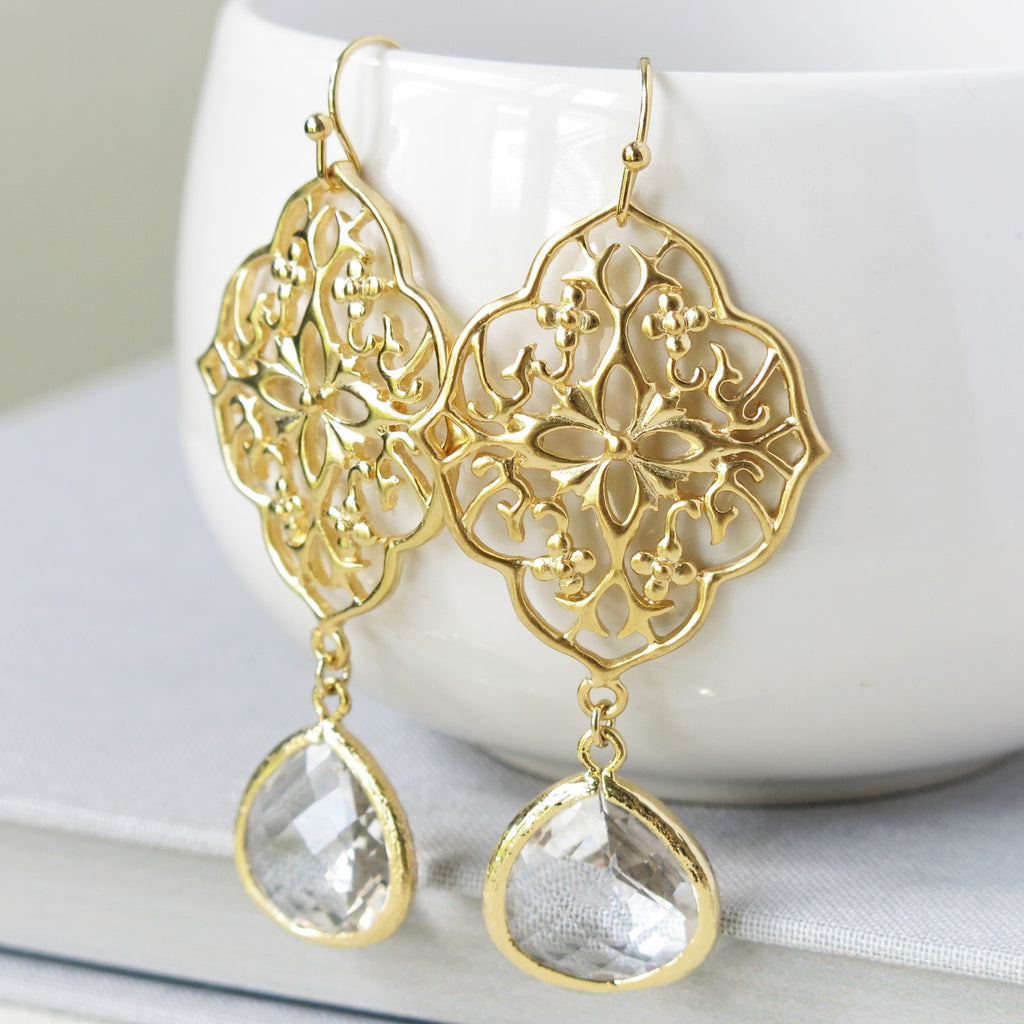 Gold Floral Filigree Clear Drop Earrings