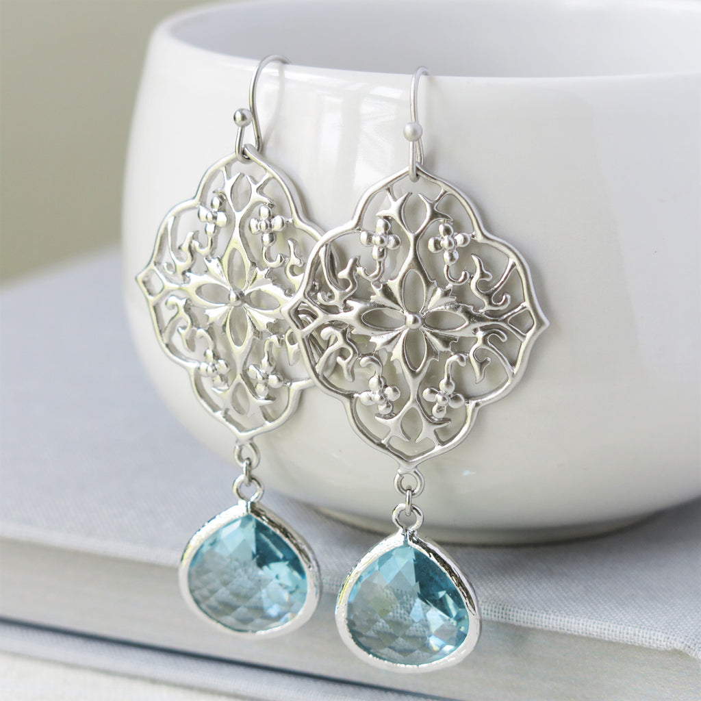 Silver Floral Filigree Aquamarine Drop Earrings
