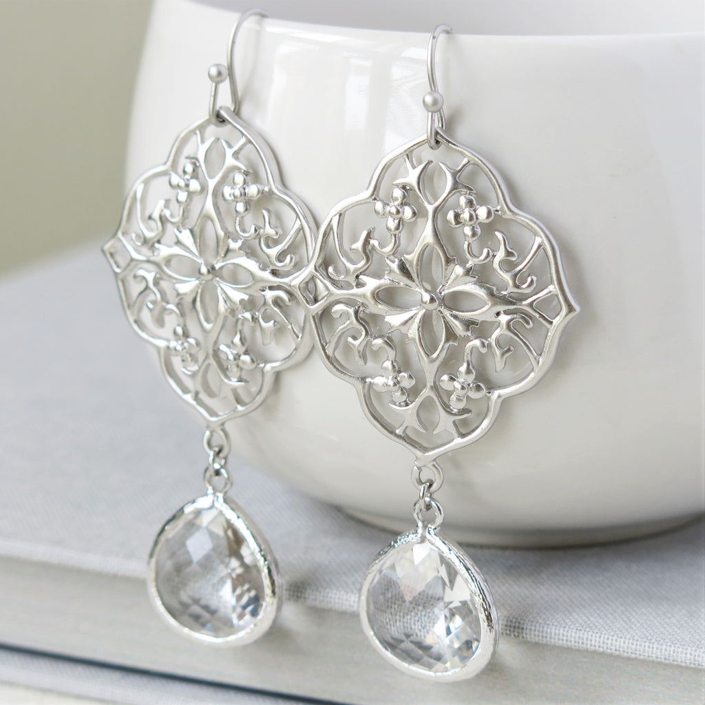 Silver Floral Filigree Clear Drop Earrings